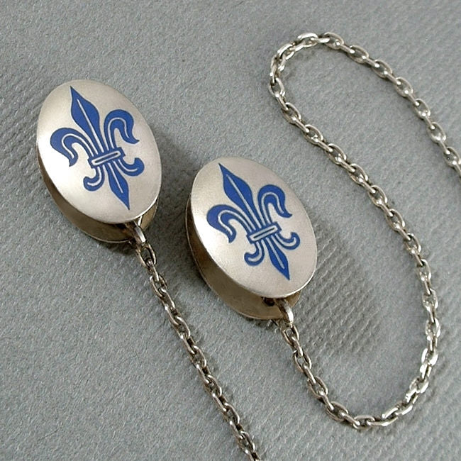 Fleur-De-Lis ENAMEL Sterling Antique Sweater CLIPS - Years After