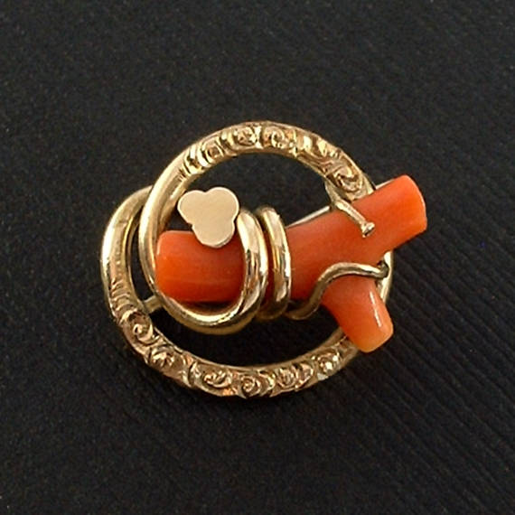 Antique Victorian Eternal LOVE Knot CORAL Brooch - Years After