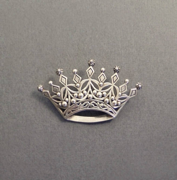 Vintage STERLING Silver Queens CROWN Brooch Signed JEZLAINE - Years After