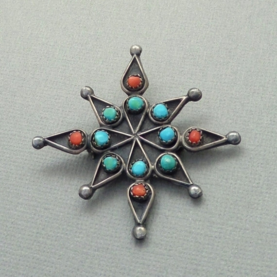 Old Pawn Vintage NATIVE American TURQUOISE Cross Star Brooch Snake Eye - Years After