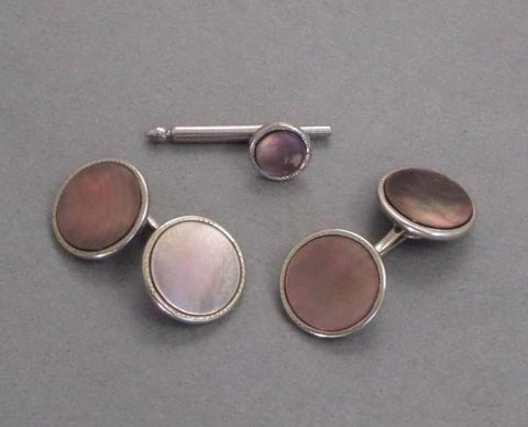 ART DECO Mother of Pearl CUFFLINKS Shirt Stud 1920's - Years After