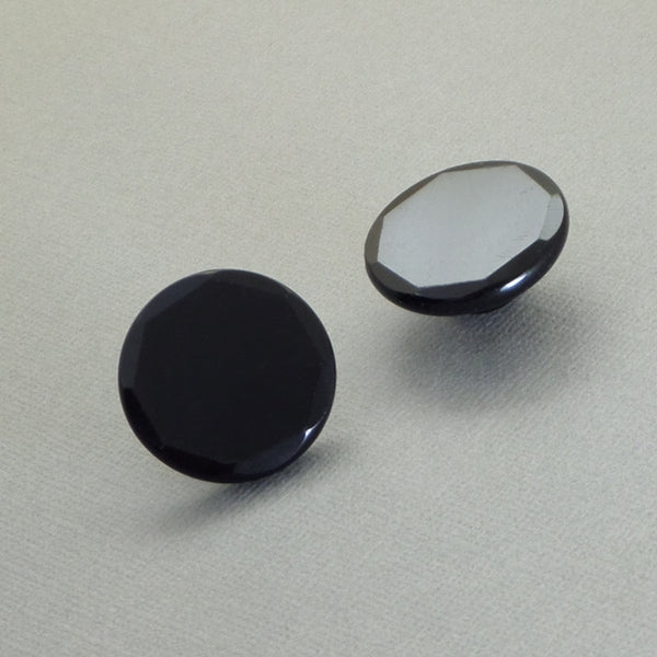 Antique CZECH Glass BUTTON Studs Black Mourning Jewelry Buttons - Years After