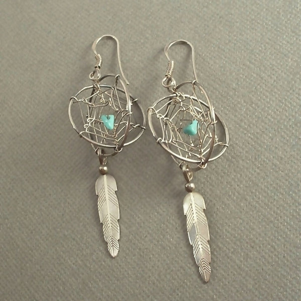 Vintage NATIVE American Dream Catcher STERLING Turquoise Earrings - Years After