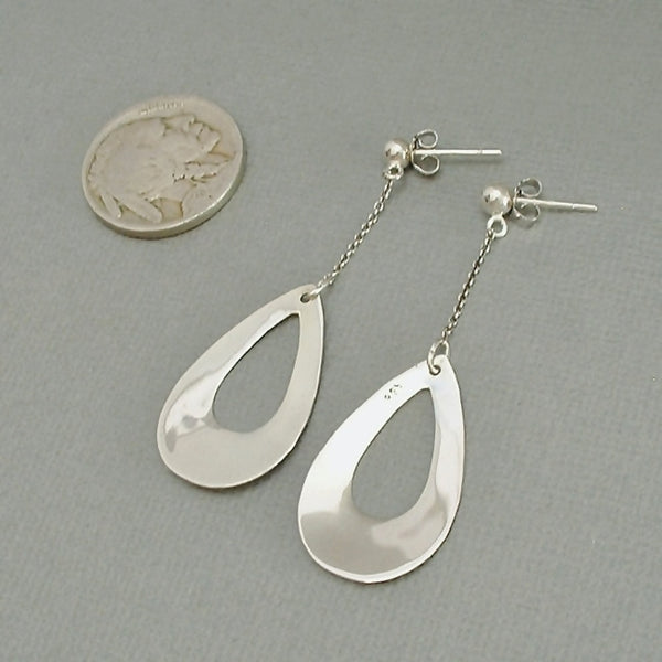Vintage MODERNIST Sterling Drop EARRINGS Pierced Ears - Years After