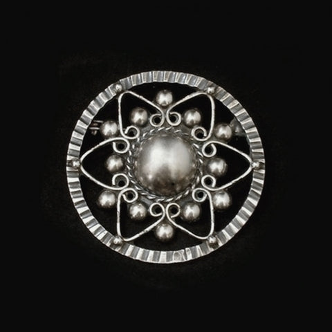 Vintage Mexican STERLING Silver BROOCH Frida Kahlo Style Pre-Eagle c.1940s - Years After