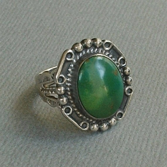 FRED HARVEY Era Native American Turquoise RING Old Pawn 1930's