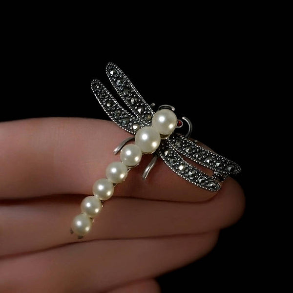 Vintage STERLING Dragonfly Insect Brooch Marcasite PEARL - Years After