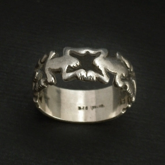 SIGNED Vintage Sterling Silver FROG Ring Friendship Band ROMA 1970s - Years After