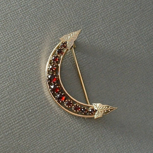 Antique VICTORIAN Bohemian GARNET Crescent Moon Brooch - Years After
