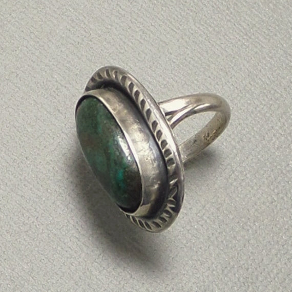 OLD PAWN Native American Green Turquoise RING Sterling Navajo Stampwork - Years After