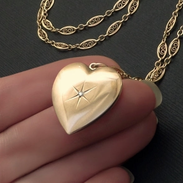 10K GOLD Heart DIAMOND Locket Long Filigree Chain - Years After
