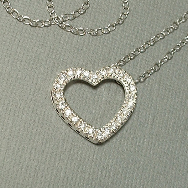 Vintage STERLING Crystal Heart Pendant Necklace CHAIN - Years After