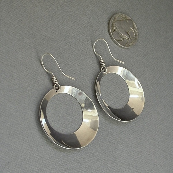Vintage STERLING Silver MODERNIST Hoop Earrings Hallmarked c.1970's - Years After