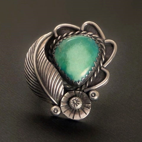 Vintage NATIVE American Large NAVAJO Turquoise RING Sterling Flower Leaf - Years After