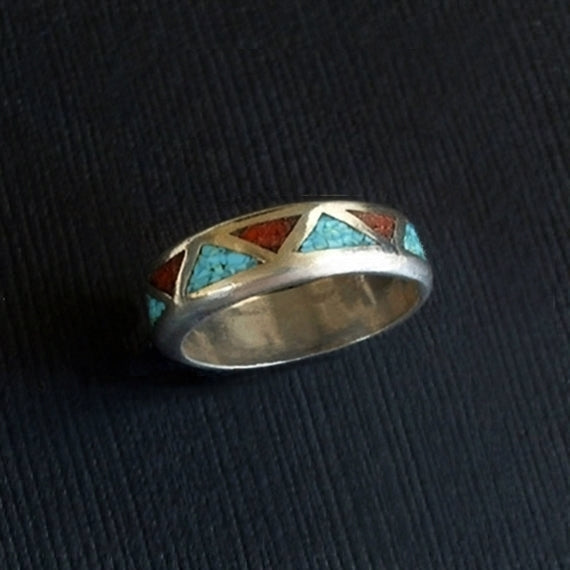 Vintage NATIVE American NAVAJO Coral Turquoise RING Inlay Mosaic - Years After