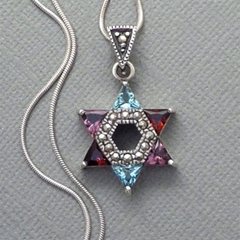 STERLING Jewish STAR of DAVID Pendant Chain Multi-Color Amethyst Garnet Topaz - Years After