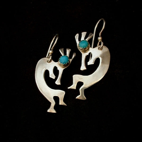 Vintage NATIVE American Kingman Turquoise Earrings KOKOPELLI Sterling - Years After