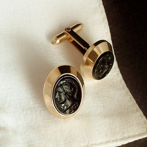 Vintage Signed KREMENTZ Roman Intaglio Tuxedo CUFFLINKS - Years After