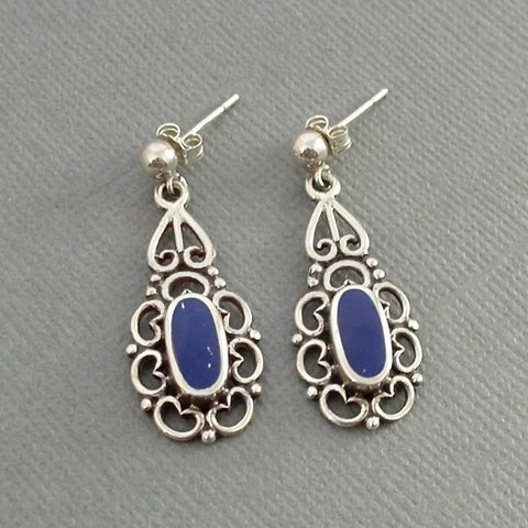 Vintage STERLING Filigree LAPIS Lazuli Drop Earrings - Years After