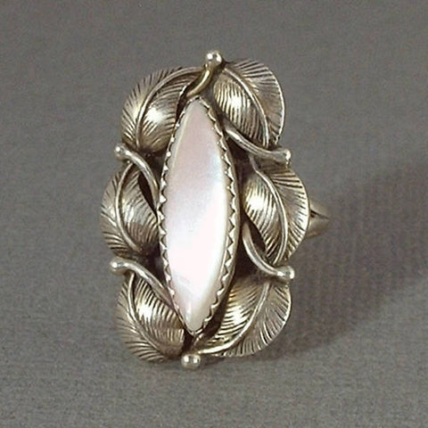 SIGNED Vintage Native American STERLING Navajo RING Pink Mother of Pearl - Years After
