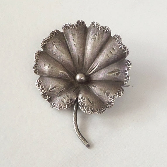 Rare Aesthetic Antique Victorian Water LILY Brooch STERLING Hallmarked 1890's - Years After