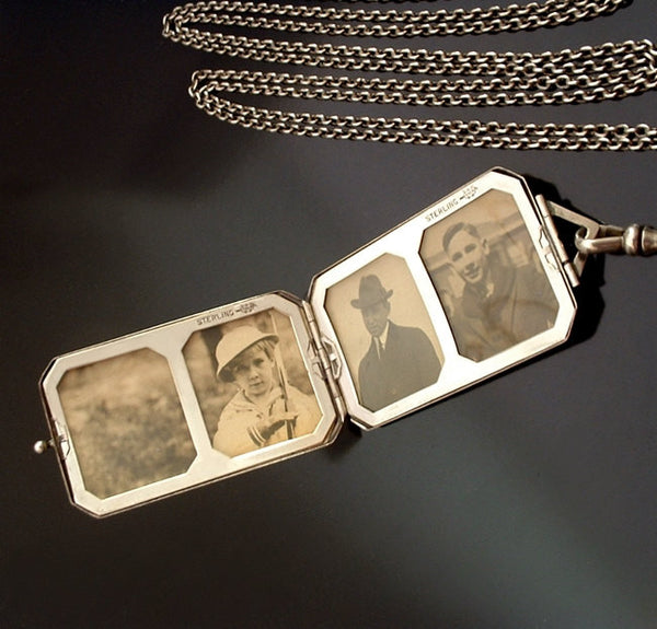 "Antique STERLING Silver LOCKET Four Photo, Watch/Guard/Muff CHAIN 50"" - Years After"
