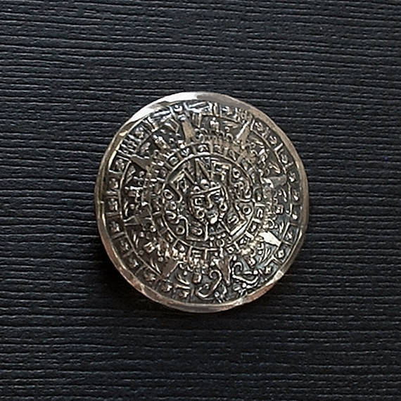 Vintage Mexican STERLING Silver MAYAN Calendar Brooch - Years After