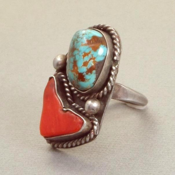 Vintage NATIVE American Royston Spiderweb Turquoise RING Sterling Coral - Years After