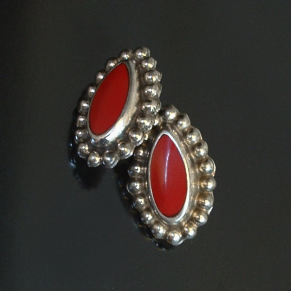 Vintage Pre-Eagle MEXICAN Sterling EARRINGS Red ONYX Pierced Ears c.1940's - Years After