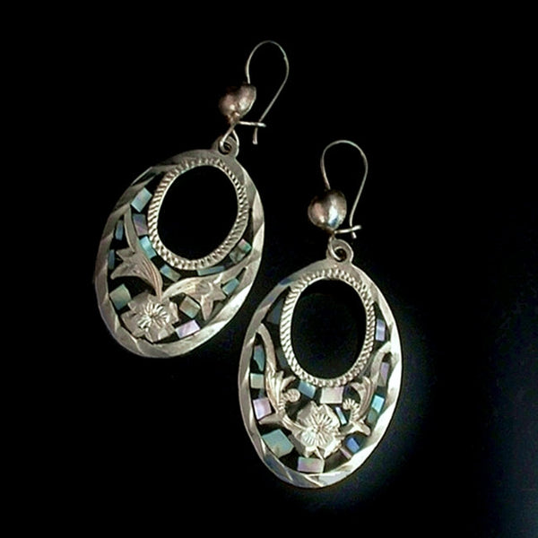 Vintage MEXICAN Sterling Hoop EARRINGS Mother of Pearl - Years After