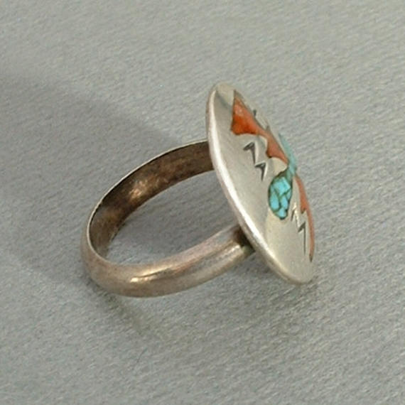 Vintage STERLING Native American Coral Turquoise RING - Years After
