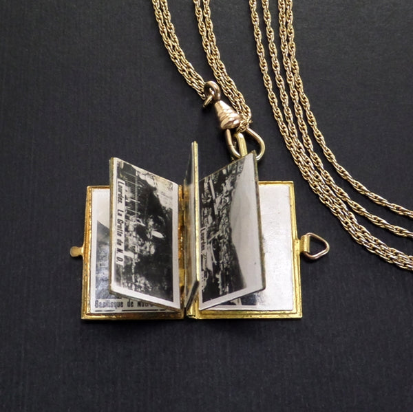 Our Lady of Lourdes Antique Enamel Locket FRANCE Souvenir MINIATURE Book Watch Chain - Years After