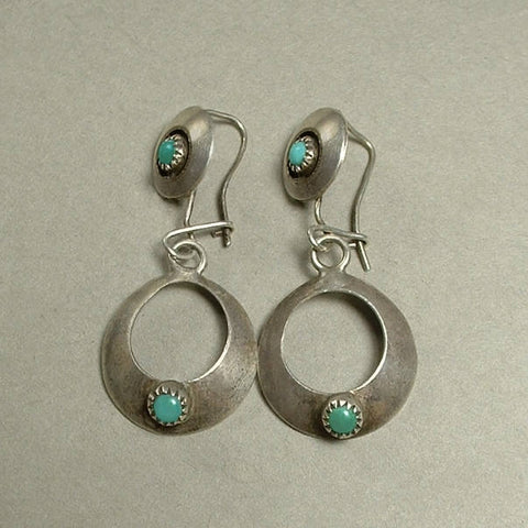 Vintage Native American OLD PAWN Turquoise EARRINGS Navajo Sterling - Years After