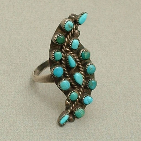 Vintage Native American PETIT POINT Old Pawn Turquoise RING - Years After