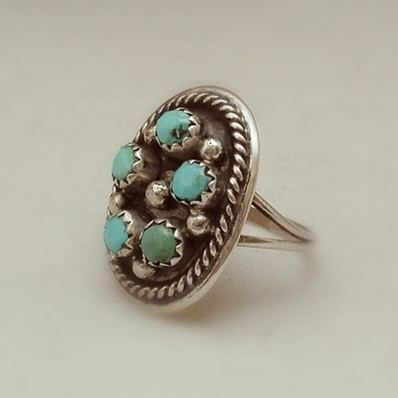 Vintage Native American ZUNI Turquoise RING Old Pawn Petit-Point Sterling - Years After