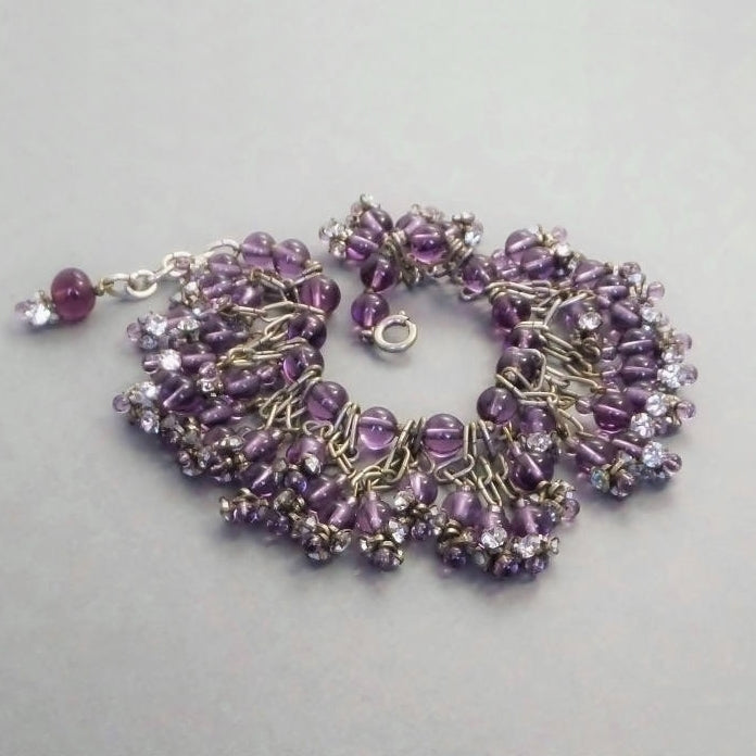 Vintage FRENCH Gripoix Pâte de Verre Amethyst POURED Glass Bracelet - Years After