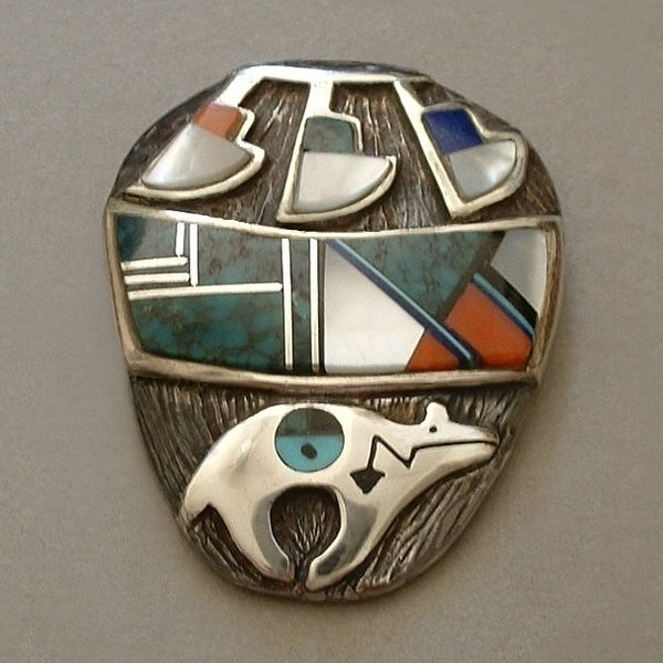 RARE Native American Indian Mosaic Inlay Brooch NAVAJO Sterling Bear Fetish Hallmarked c.1980s - Years After