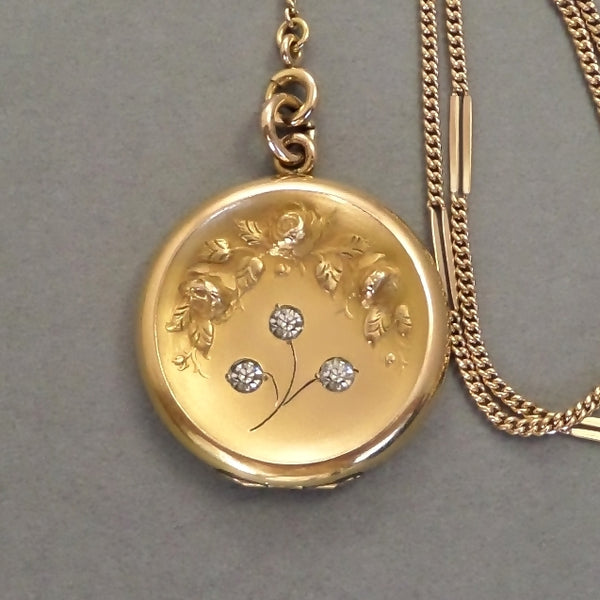 ANTIQUE Art Nouveau LOCKET Rose Flowers Clear Paste Lariat CHAIN - Years After