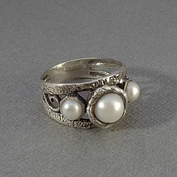 Vintage STERLING Silver PEARL Band Ring Modernist - Years After