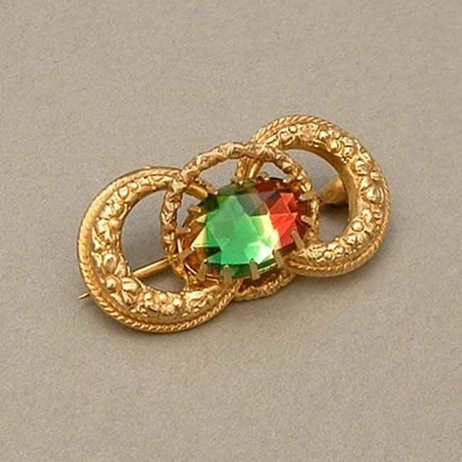 VICTORIAN Antique LOVE KNOT Brooch Watermelon Rainbow Glass c.1900's - Years After - 1