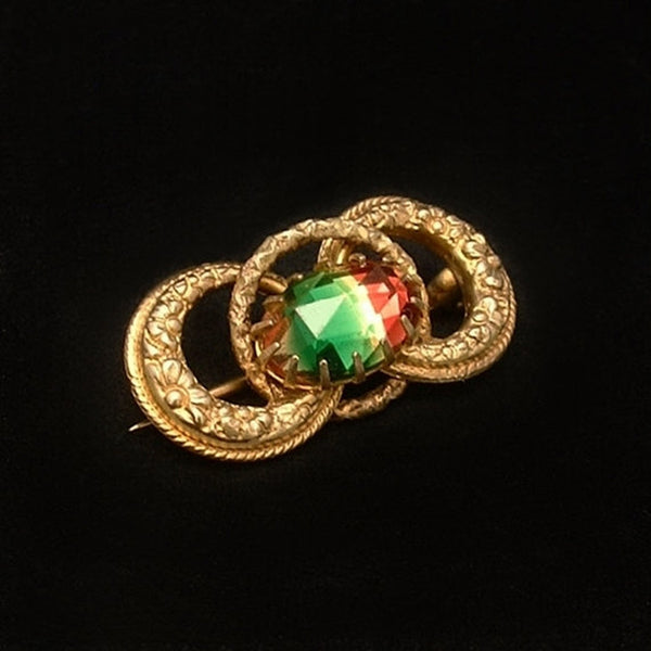 VICTORIAN Antique LOVE KNOT Brooch Watermelon Rainbow Glass c.1900's - Years After - 2