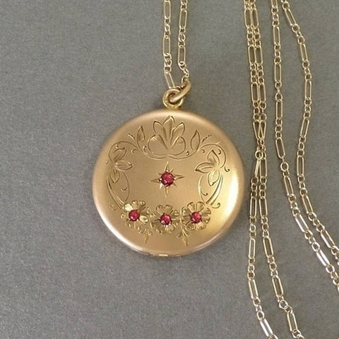 Antique RUBY Paste Victorian LOCKET, Frames Covers, Long CHAIN - Years After