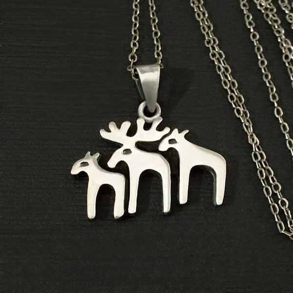 Modernist STERLING Christmas Moose Reindeer PENDANT Chain - Years After