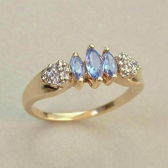 ESTATE Vintage 10K Gold Tanzanite Diamond RING Hallmarked Size 6 - Years After