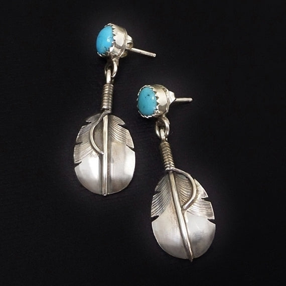 Vintage Native American Sterling NAVAJO Turquoise EARRINGS H. Addikie - Years After