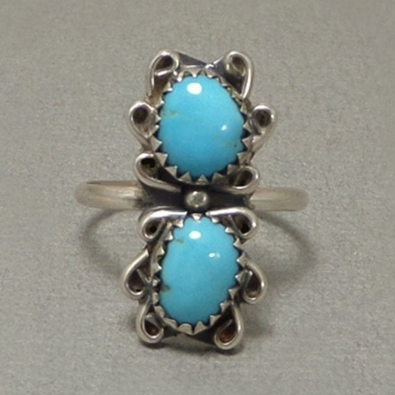 HARRISON YAZZIE Vintage Navajo Double Turquoise RING Native American - Years After