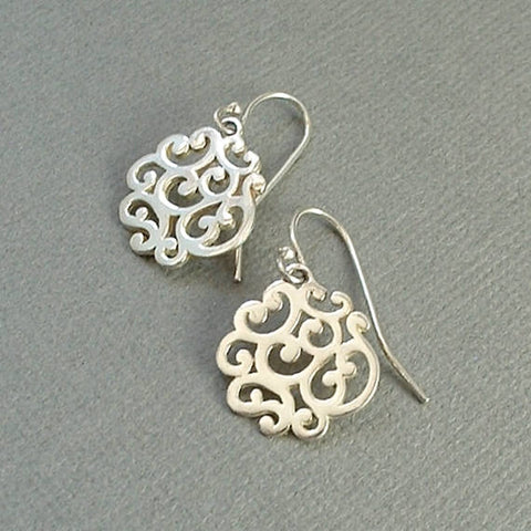 Vintage STERLING Silver Filigree Scroll Drop EARRINGS - Years After
