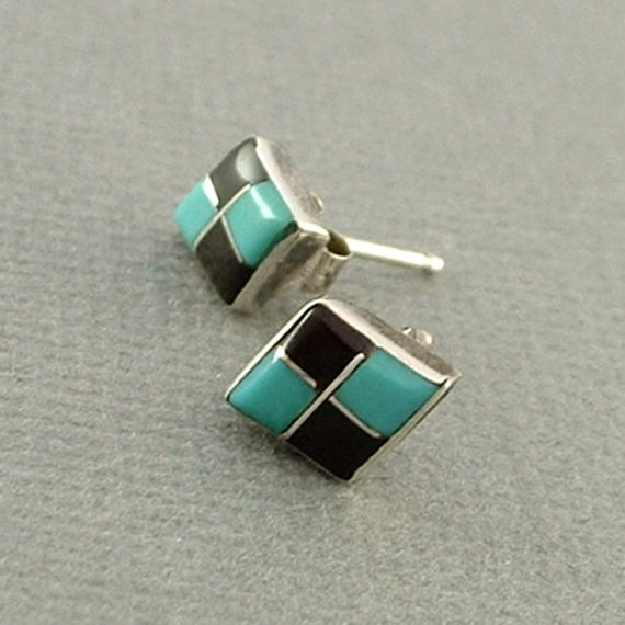Vintage Native American ZUNI Turquoise Stud EARRINGS - Years After