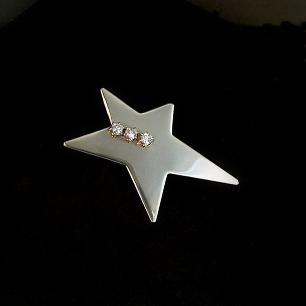 Vintage MODERNIST Sterling Silver Star Brooch Abstract CZ Signed 1970s - Years After