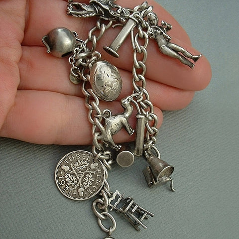 Vintage STERLING Charm Bracelet MECHANICAL Charms, Signed Locket, Tea Pot c.1930's - Years After